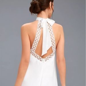 NWT Lulu's White Lace Halter Dress